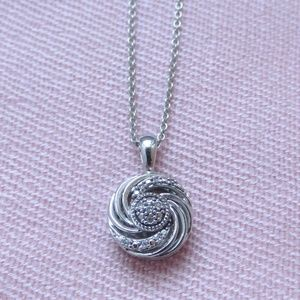 Beautiful Silver Pave Diamond Swirl Pendant